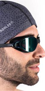 Taddlee Men Swim Cap PU Fabric Silicone Swimming Hat Pool Waterproof Sports Adult Swim Wear