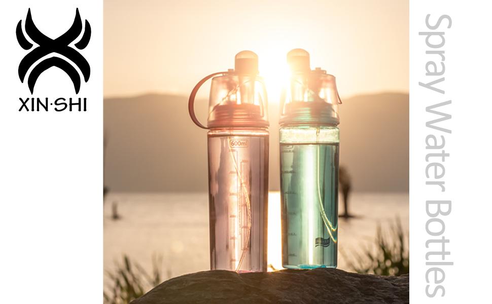 Girls Personalised Mist Spray Drinking Bottle,Leak Proof,BPA Free,0.6L XIN/·SHI Kids Spray Water Bottle