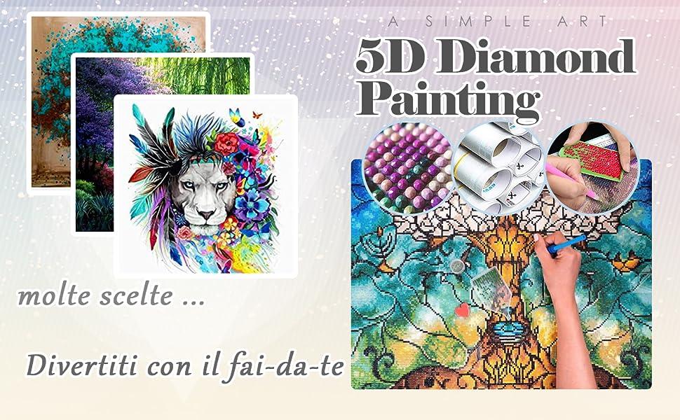 Maysurban 5D Diamond Painting Kit Completo Drill DIY Kit Pittura Diamante Kit Strass Pittura Kit per Decorare Casa Cavallo di Piombo colorato 30x40cm