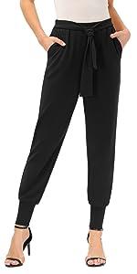 Women's Casual Pants High Waist Self Tie Skinny Pants with Pockets
