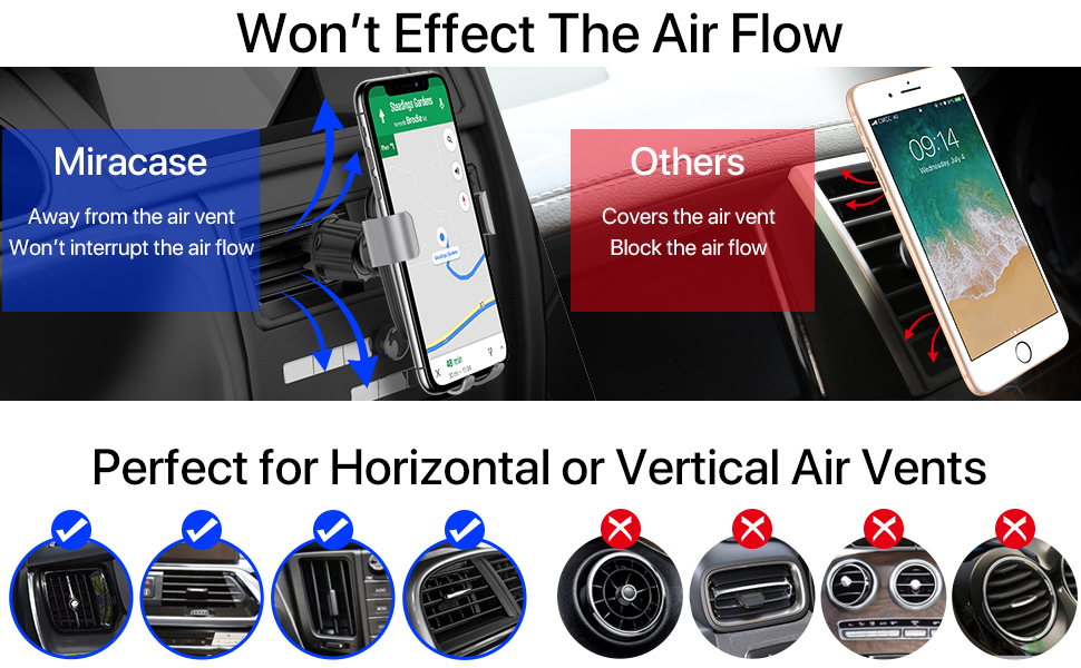 won't effect the air flow perfect for horizontal or vertical air vents