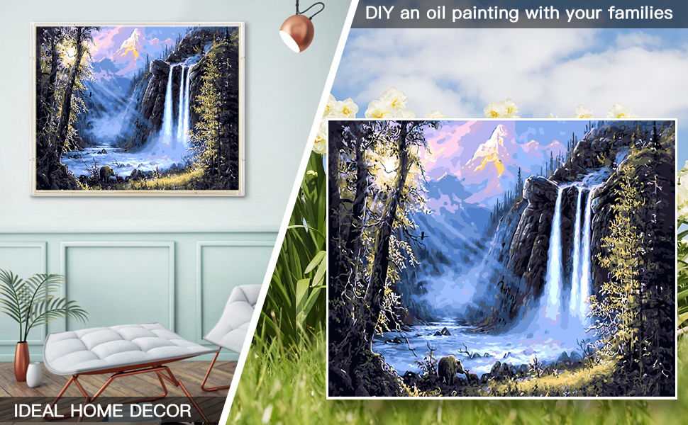 Christmas Street Scene Oil Diy Canvas Painting With Brushes And Acrylic Pigment For Adults Beginner Girl Kids LOVEYF Diy Oil Paint By Number Kit