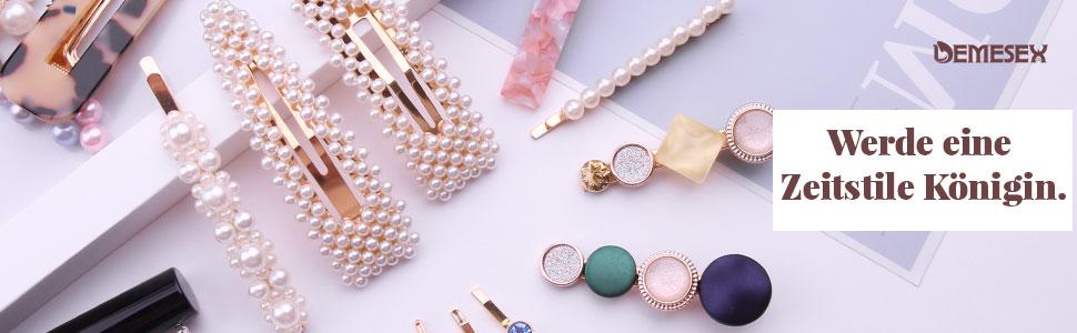 WEIHEEE Perle Hohle Haarspange geometrische Raute gestapelt Perlen Haarspange Wiederverwendbare Kunstperle Hochzeit Kopfbedeckung Dekoration,Fotofarbe 1