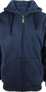 sherpa lined heavyweight warm soft full zip up zipper fleece cotton big tall plus size coats hoodies