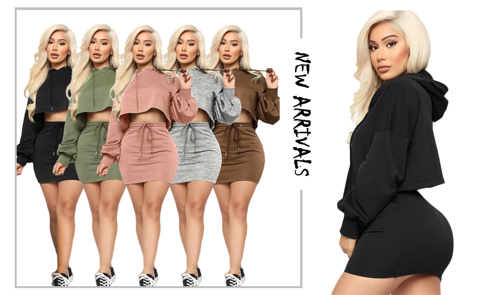 Womens 2 Piece Lightweight Hoodies Long Sleeve Pullover Sweatshirts Drawstring Crop Tops Casual Skirt Sets Tracksuits