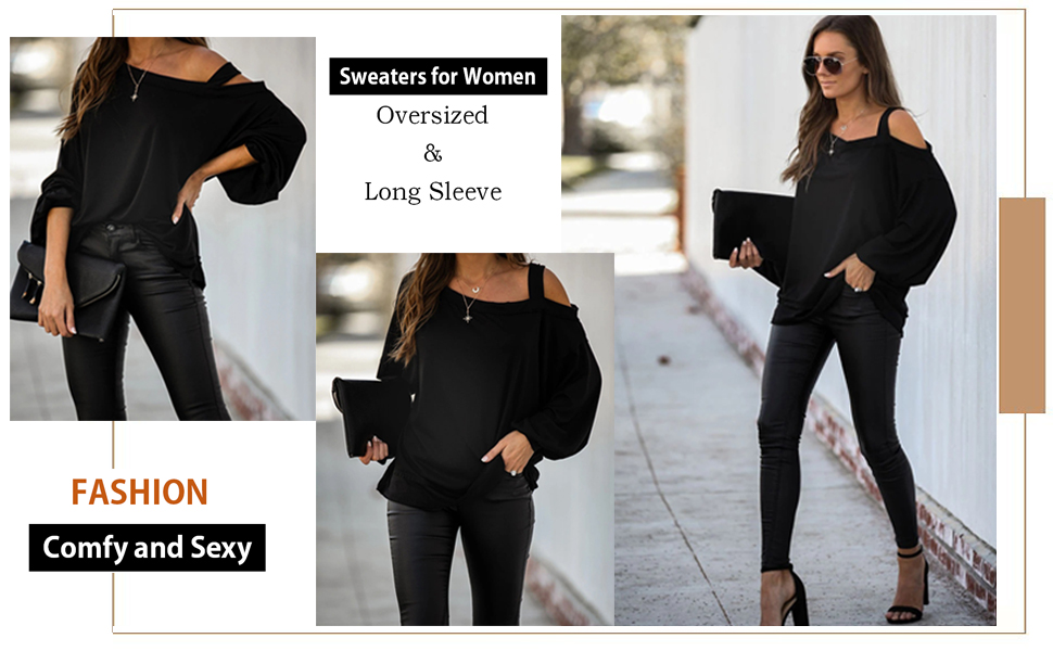 EZBELLE Womens Oversized/Sweaters Off The Shoulder Tops Long Sleeve Pullover Sweater Knit Jumper