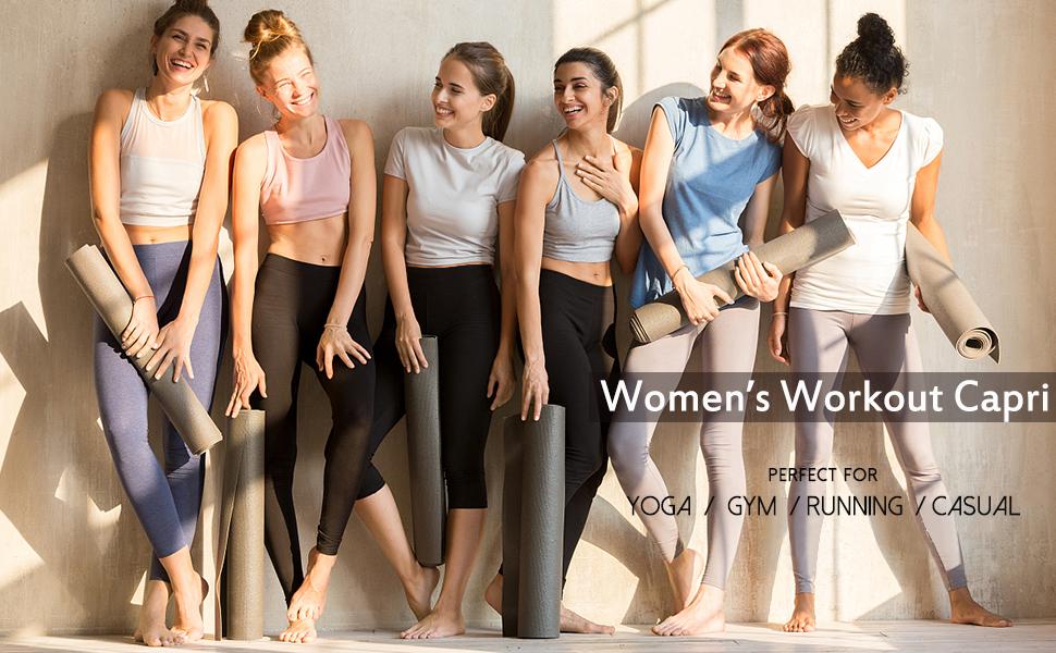 NEW Womens High Waist Yoga Pants Cropped Pocket Fitness Sports Capri Leggings FM