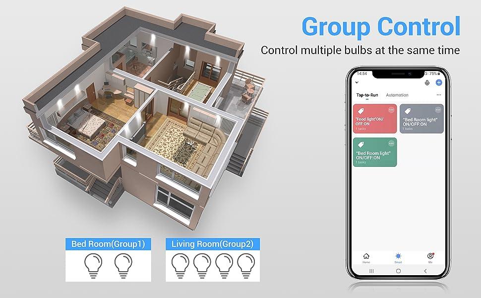 smart light bulbs group control
