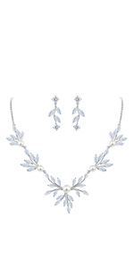 leaf floral pearl jewelry set for bride