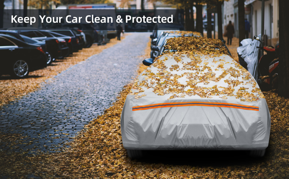 Car Cover for Sedan 191-201 Ohuhu Universal Sedan Car Covers Windproof Dustproof Scratch Resistant Outdoor UV Protection Auto Cover L