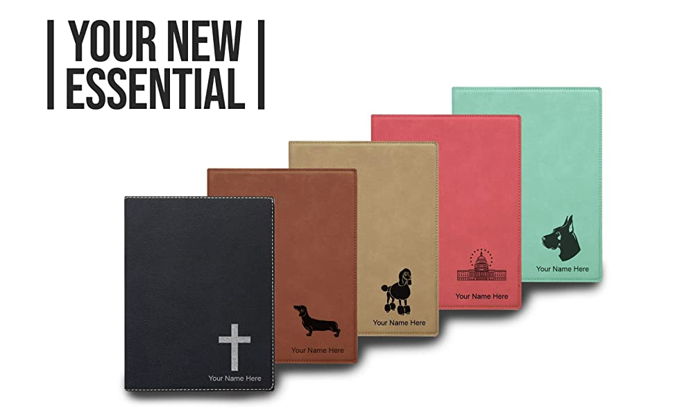 faux leather small portfolio notepad