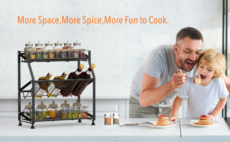 Spice Rack, Ace Teah 3 Tier Spice Rack Holder Kitchen Countertop Shelf Organizer