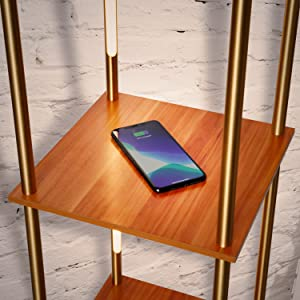 Brightech Aria Metal Shelf Floor Lamp w. Wireless Charging Station
