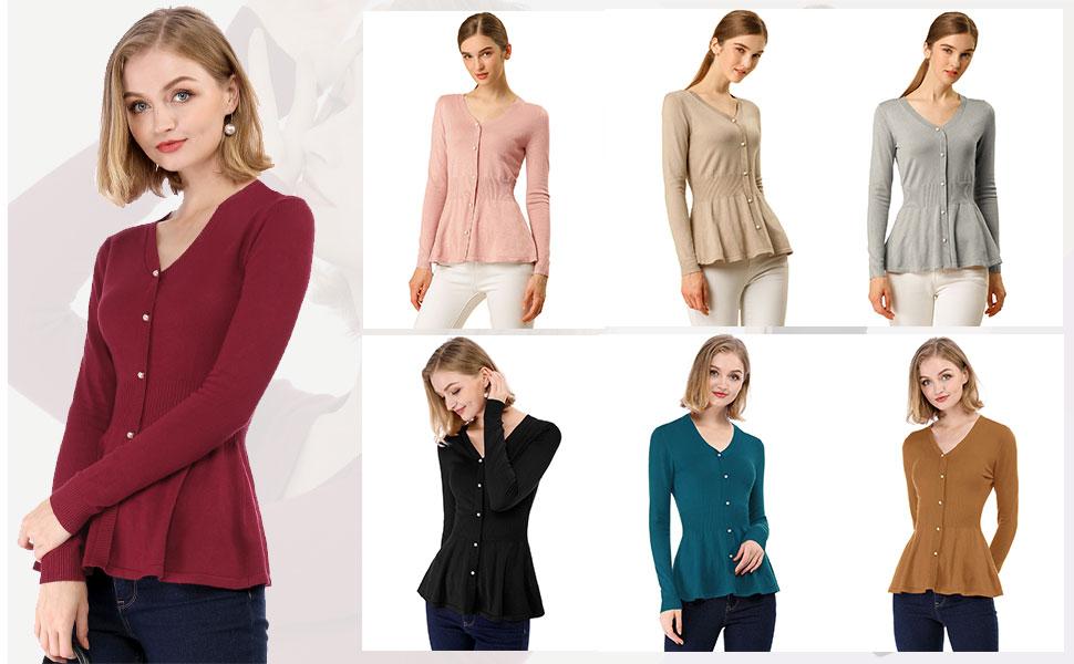 Allegra K Women's Peplum Sweater Smocked Long Sleeve Knit Tops
