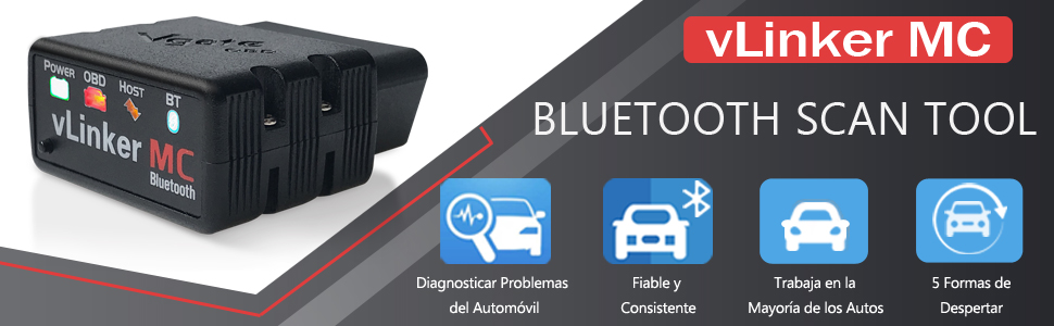 Bluetooth 4.0 TONWON Vgate vLinker MC Android y Windows OBDII Bluetooth Esc/áner de diagn/óstico OBD2 para iOS