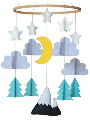 baby crib mobile woodland starry night wonderland cute minimalist 3D moon stars clouds hang decor