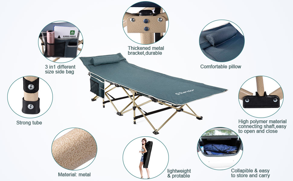 with Soft Comfortable Mattress and Pillow Extra Wide Heavy Duty Camp Bed Portable Strong Sleeping Cot Outdoor Folding Camping Bed for adults