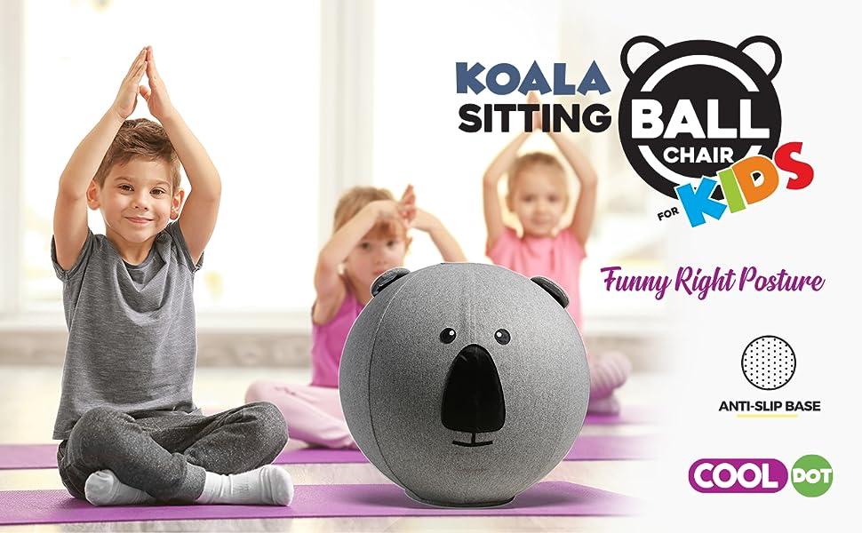 COOLDOT Bola de Yoga para Niños con Asa y Funda Pelota de Ejercicio para Yoga, Equilibrio, Fitness y Entrenamiento Bombín Incluido