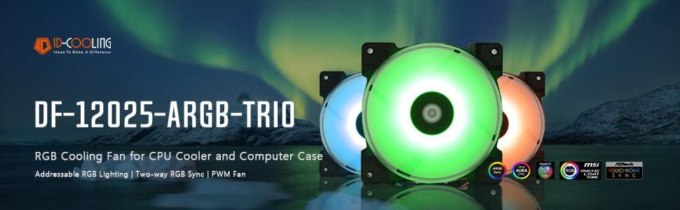 ID-COOLING DF-12025-ARGB Trio Case Fan CPU Cooling Fan Addressable RGB Case Fan 5V ARGB MB Aura Sync PWM Fan for CPU Cooler//Raidator//PC Chassis Remote Control Included