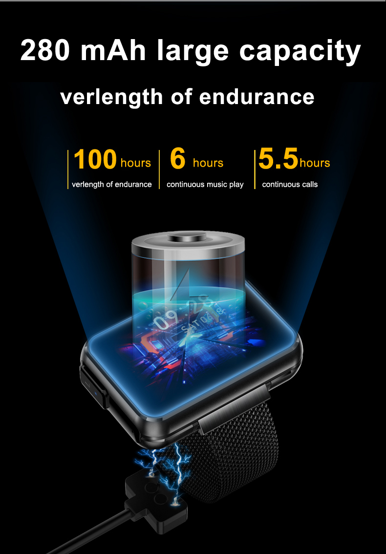 DECWIN Smart Watch Bracelet 2 in 1 TWS Wireless Bluetooth Earbuds 1.4 Inch Heart Rate Blood Pressure Fitness Trackers Wristband Smartwatches Waterproof 16