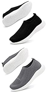 Men's Athletic Walking Shoes Comfortable Lightweight Running Shoes Casual Breathable Slip on Sneaker