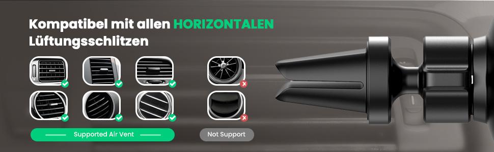 nur mit horizentalen Lüftungschlitzen kompatibel