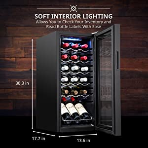 Ivation wine cooler Soft interior lighting