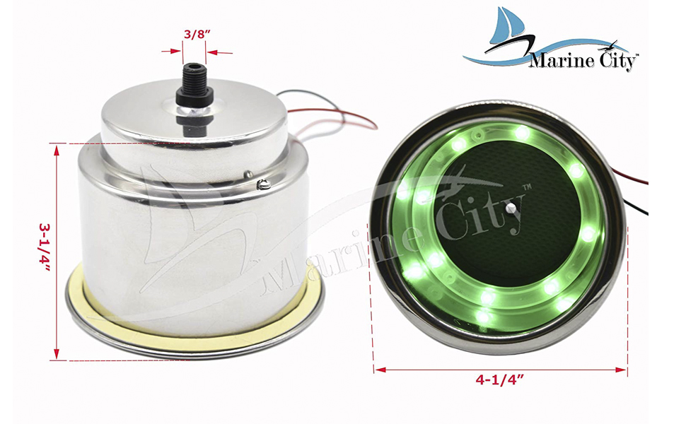 MARINE CITY Stainless Steel 8 LED Green Drink Cup Holder with Drain for Boat RV Poker Table Counter