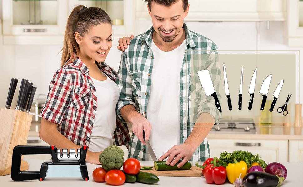Kitchen Knife Sharpener with Sharpening Stone