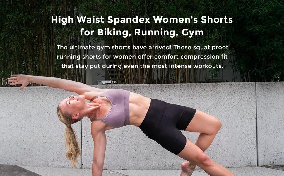 High Waist Spandex Women's Shorts for Biking, Running, Gym