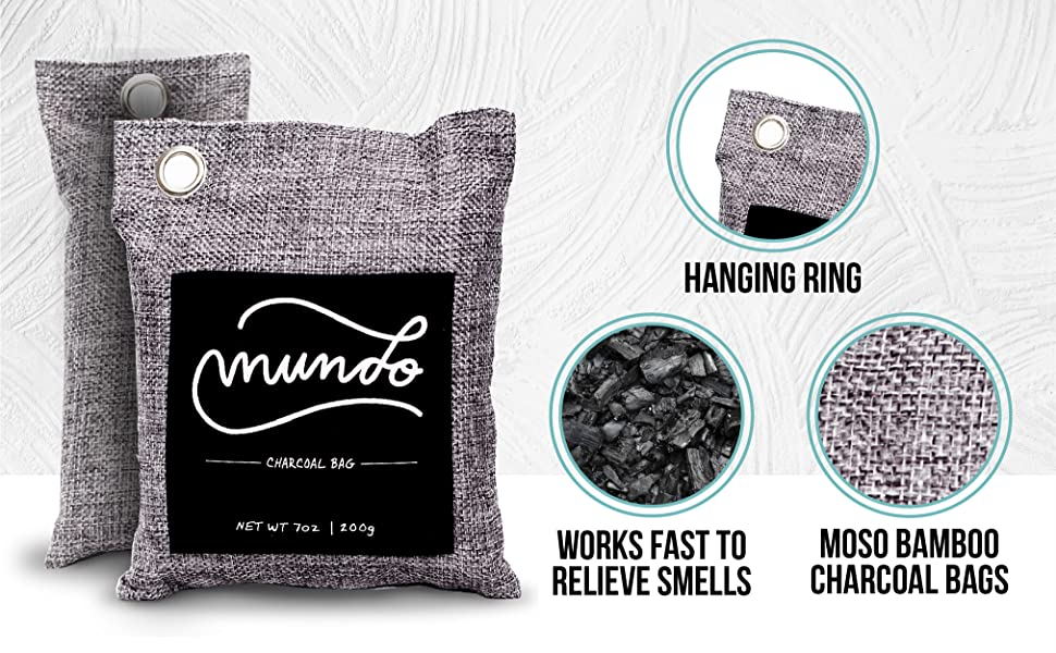 hanging ring works fast to relieve smells moso bamboo charcoal bags