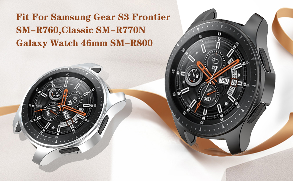 JZK Case for Samsung Galaxy Watch 46mm Gear S3 Screen Protector,Shatter-Resistant Protective Shell TPU Cover Case for Samsung Gear S3 ...