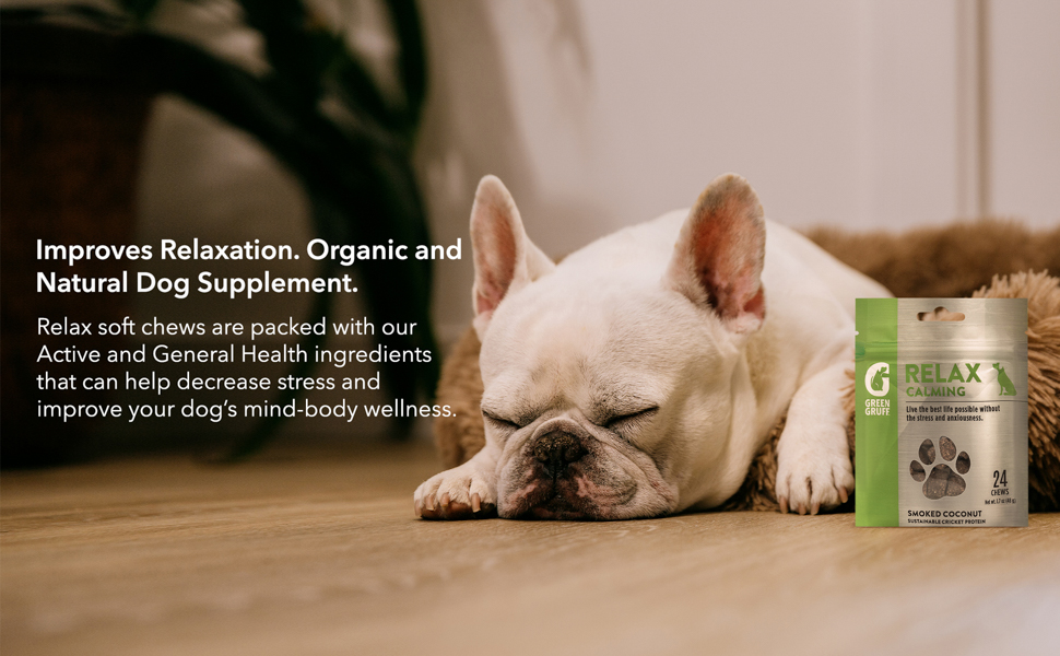 melatonin dogs Green Gruff relaxing dog treats help your dog stay calm in stressful situations.