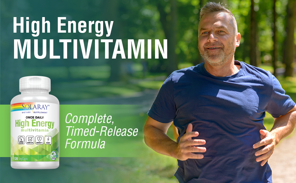 Solaray High Energy Multivitamin Once Daily, Timed-Release Formula Whole Food Herb Base Non-GMO