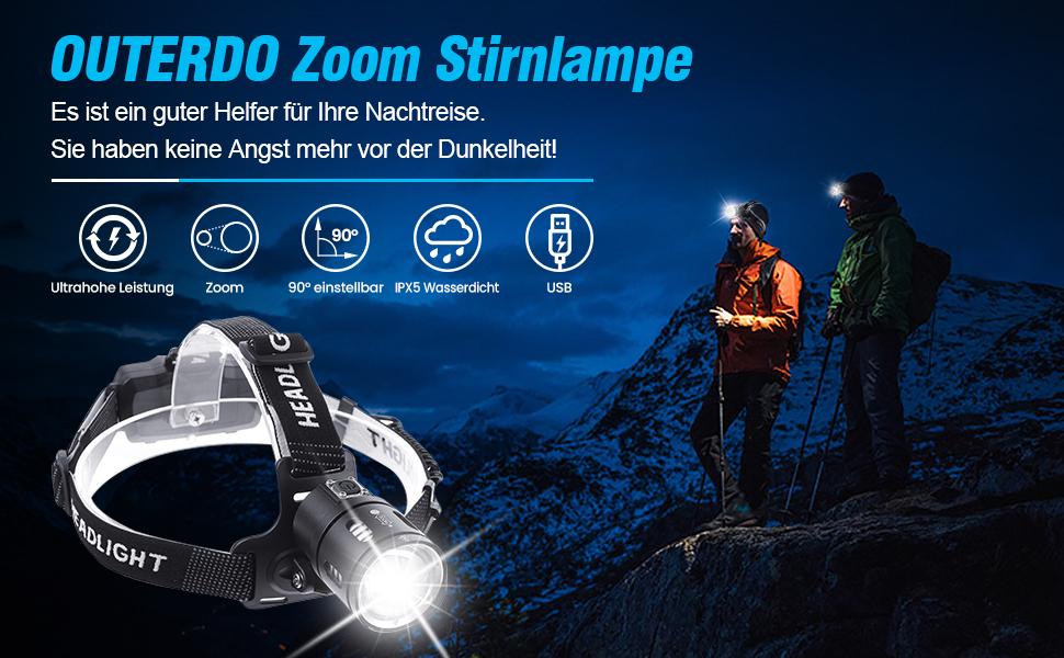 Stirnleuchte f/ür Nacht Angeln Laufen Jagd Lesen Camping Wandern Kopflampe Zoom 3500 Lumen mit USB 2 wiederaufladbaren Batterien wasserdicht OUTERDO Stirnlampe LED