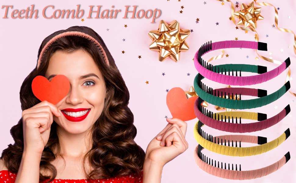 Package includes 8 pieces teeth comb headband with 8 different colors for women and girls