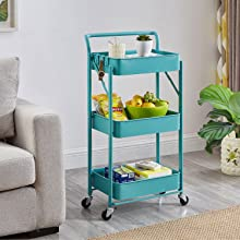 teal rolling cart