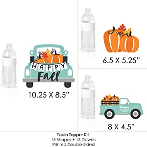 Harvest Pumpkin Party Fold and Flare Centerpieces 10 Count Table Decorations Happy Fall Truck