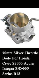 BILLET CNC 70MM THROTTLE BODY INTAKE FOR HONDA ACURA B//D//H//F-SERIES SILVER