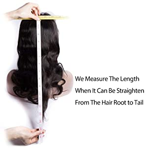measure the human hair wig