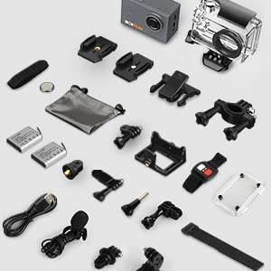 BOIFUN Action Cam 4K HD 20MP WiFi EIS Stabilizzazione con Telecomando e Microfono Esterno 40M Impermeabile Fotocamera Subacquea Videocamera Time Lapse (20MP)