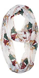 Christmas Holiday Buffalo Plaid Bell and Music Sheet White Infinity Scarf for Women and Girls