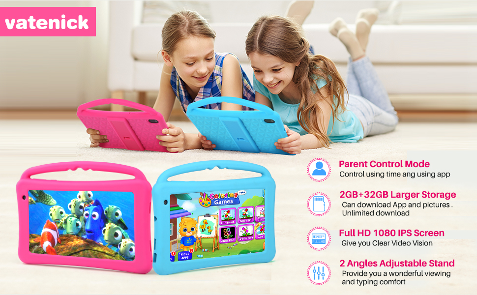 Tablet for kids - Kids Tablet 7 Inch IPS HD Display QuadCore Android 10.0 Pie Tablet PC For Kids - GMS Certificated Dual Cameras 2GB RAM 32GB ROM WiFi With Handheld Kids-Proof Silicon Case For Kids Educational (Pink)