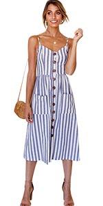 Blue Stripe Button Dress