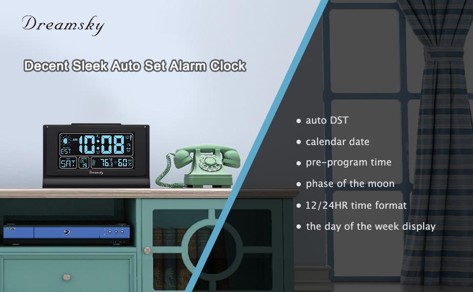 DreamSky Auto Set Alarm Clock for Bedroom
