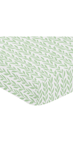Sweet Jojo Designs Green and White Leaf Floral Girl Baby or Toddler Nursery Fitted Crib Sheet
