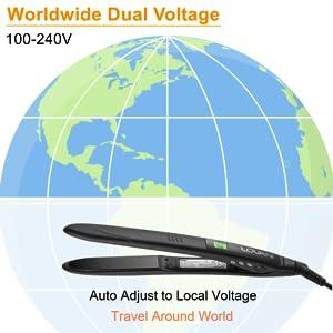 110 220v worldwide dual voltage europe travel globle use titanium hair straightener