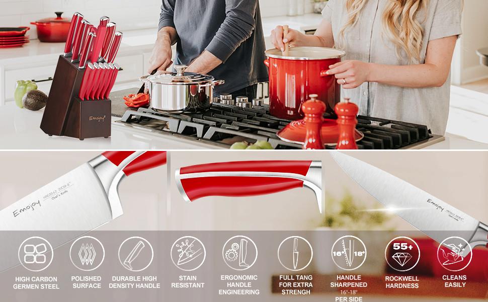 red knife set