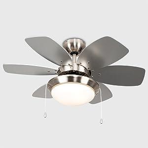 MiniSun - Moderno Ventilador de Techo con Luz LED/ 76cm ...