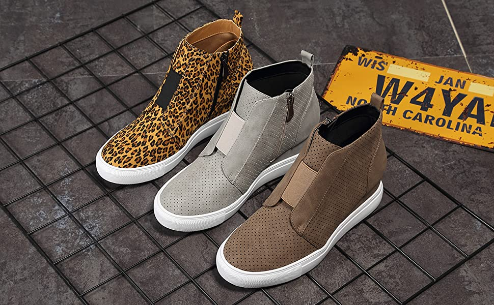 Women/'s Hidden Heel Lace Up Sneakers Shoes Casual Pumps High Top New Ankle Boots
